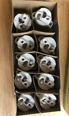 Box Of 10 Circle Industries Lamp Holder Socket Porcelain New Old Stock 660 W USA