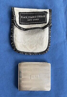 1930s Black Starr Frost Gorham Sterling Silver Compact Cloth Bag Mirror Makeup