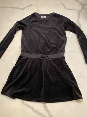 JUICY COUTURE Girls Dress Black Velour Size XL  14-16