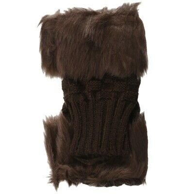 Lady Girl Shaggy Faux Fur Knit Fluffy Hands/LEG Warmers Ankle Boot Covers G Q3O9