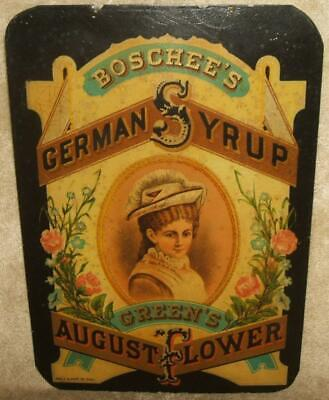 "1870-80 Wells & Hope ""Shield"" Sign Boschee's German Syrup Green's August Flower"