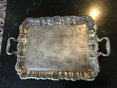 Vintage Sheridan Silver On Copper Footed Handled Engraved Serving Tray Electric