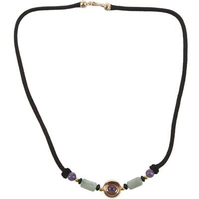 Amethyst Tony Jade Gold Plated Short Necklace Chinese Style Vintage Clavicl K9P5