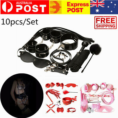 10Pcs Adult Sex SM Toys Set Handcuffs Strap Whip Rope Restraints System Kit Sexy