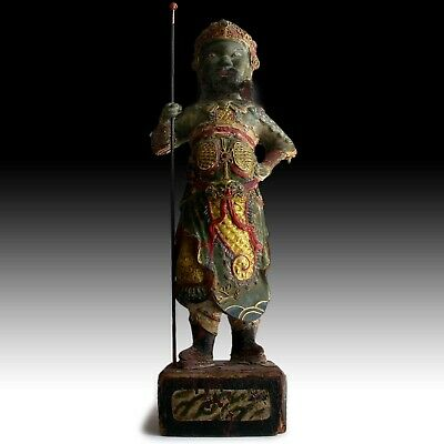 Antique Chinese Heavenly King Temple Guardian Dharmapala Wood Buddha Carving 天王