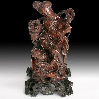 Finely Carved Taoist Immortal Drinking Banquet Antique Chinese Boxwood Statue 八仙