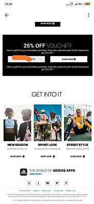 25% DISCOUNT ADIDAS PROMO VOUCHER OFF GIFT CODE Sports Online store UK