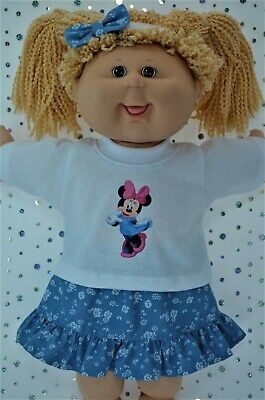 "Play n Wear Dolls Clothes For 16"" Cabbage Patch PATTERN DENIM SKIRT~TOP~HEADBAND"