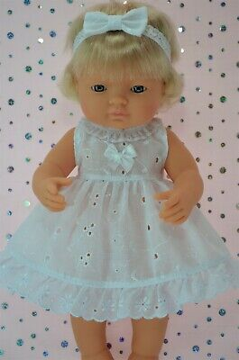 Dolls Clothes For 38cm Miniland Doll BRODERIE ANGLAISE DRESS~HEADBAND