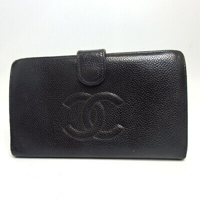 Authentic CHANEL CC logo COCO Mark 7745460 purse Caviar skin[Used]
