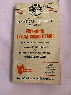 Vintage 1987 Devonport Eisteddfod Society Program Official Comp Town Hall