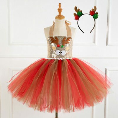 Sequins Kid Girls Xmas Christmas Halloween Tutu Fancy Dress Party Costume Outfit