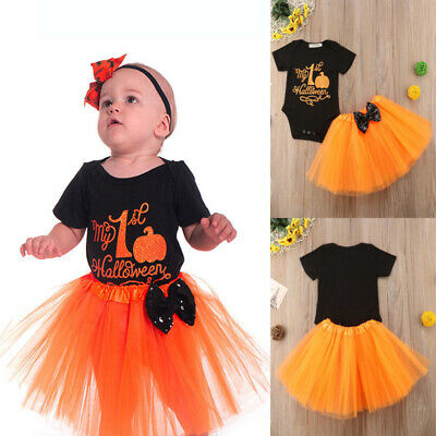 Newborn Baby Girls Halloween Style Dress Set Romper + Lace Dress Clothes Set