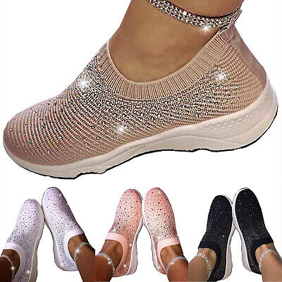 Womens Glitter Slip On Sneaker Casual Outdoor Hiking Sport Flat Shoes Pumps Size