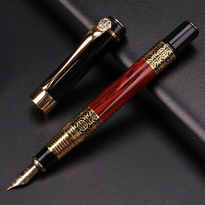 Fountain Pen 0.5mm Luxury Ink Medium Nib Metal Trim Writing Office School Gift