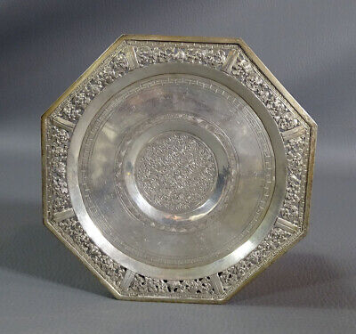 Antique Sterling Silver Floral Pierced Filigree Octagon Pin Coin Dish Tray Plate