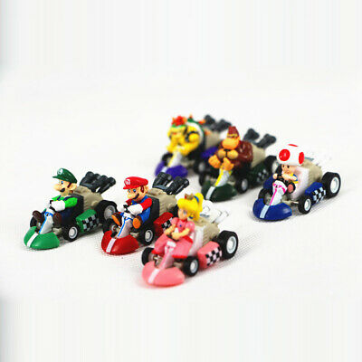 Super Mario Luigi Bros Toad Racing Kart  6 PCS Pull Back Cars Figure Gift Toys