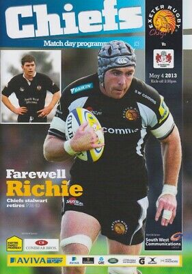 EXETER CHIEFS v GLOUCESTER AVIVA PREMIERSHIP RUGBY MINT PROGRAMME 4th MAY 2013