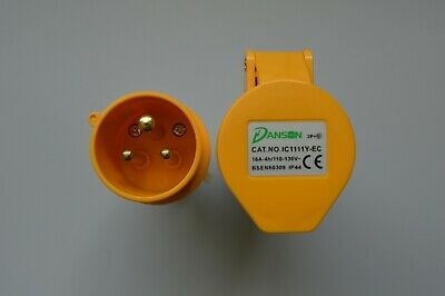Danson 110V 16 AMP 3 Pin IP44 Site Plug and Socket Industrial Extension Camping
