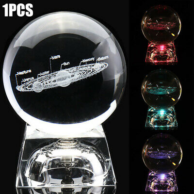 60mm Clear Glass 3D Engrave Solar System Crystal Ball Sphere W/ LED Stand Decor