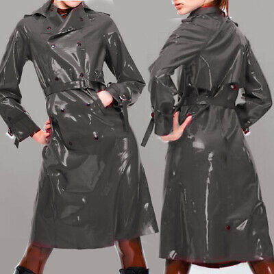 Unisex Latex Gummi Rubber Tops Button Waist Windjacke Grau Jacket Coat S-XXL