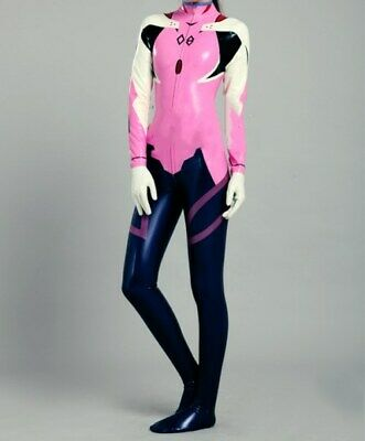 Latex Catsuit Uniform Mixed Color Rubber Bodysuit Cosplay With Feet And Gloves