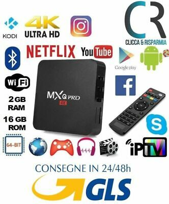 Ott Tv Smart Box 4K 2Gb Ram 16Gb Rom Android Mxq Pro Wifi Quad Core +Telecomando