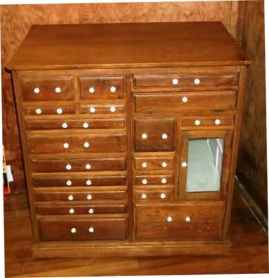 Antique Oak Dental Cabinet 18 Drawers +Glass Door Quartersawn