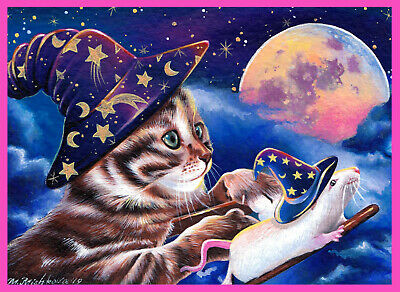 ACEO original art kitten cat mouse halloween witch magic broom fall M. Mishkova