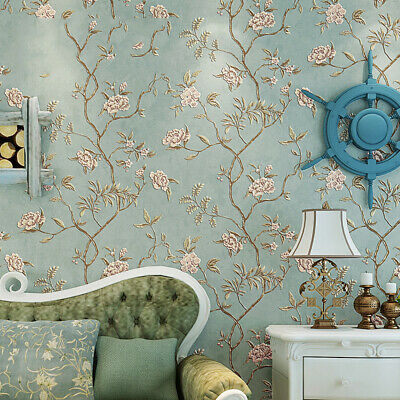 Retro Luxury Floral Wallpaper 3D Wall Decal Non-woven Bedroom Living Room Decor