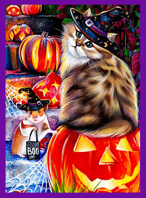 ACEO original art kitten cat halloween pumpkin mouse trick treat fall M Mishkova
