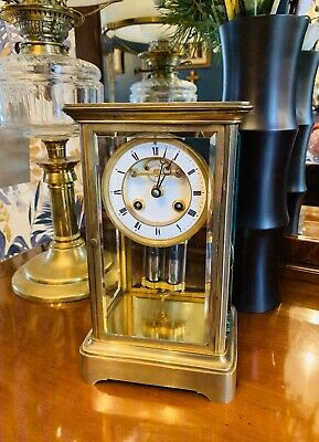 French Four Glass Striking Mantle Clock c1875 By S Marti of Paris