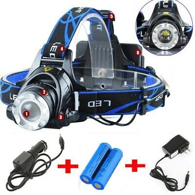 900000Lumen T6 LED Zoomable Headlamp Rechargeable 18650 Headlight Head Torch USA