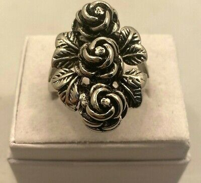 Antique Silver Carved Rose Ring Flower Stainless Steel Vintage Style New