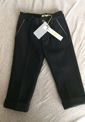 Roberto Cavalli boys trousers new with tags blue 12 months old wool designer