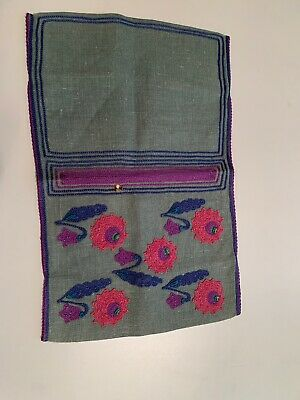 """Antique Book Cover, Linen Cover 12.5"""" x 8"""", Arts and Crafts Mission Style Emb."""