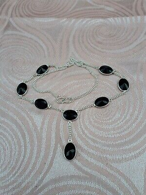 Stunning Silver Art Deco Style Faceted French Jet Necklace