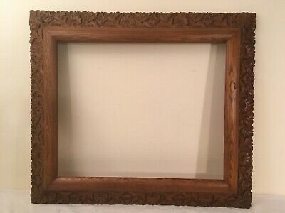 """Large Antique Oak Wood Frame w/ Ornate matching Gesso Detail 19x23.5"""" opening"""