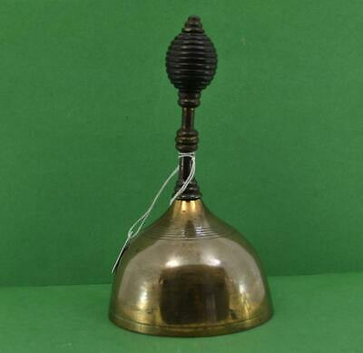 "Antique Victorian Bronze Servants Bell Beehive hardwood handle 3.1/2"" w working"