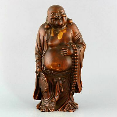 Collect China Old Boxwood Hand-Carved Happy Buddha Auspicious Buddhism Statue
