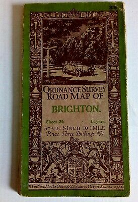 1928 Vintage OS Ordnance Survey 1.5 inch to 1 mile Tourist Map BRIGHTON sheet 39