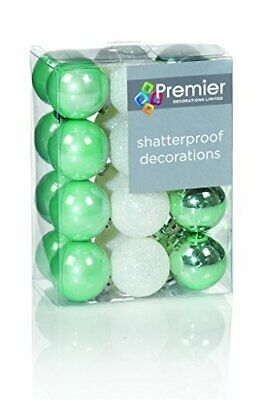 Pack of 24 - 30mm Green / White Mini Christmas Tree Baubles - Tree Decorations