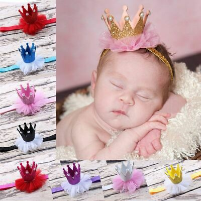 Baby Pearl Girl Princess Queen Crown Headband Tiara Lace Headwear Hair Band