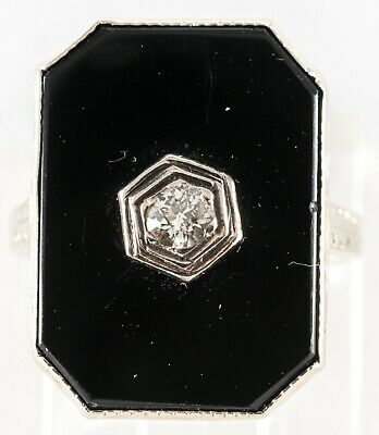 C1930 Art Deco 18K Gold Onyx And Diamond Ring  Size 4