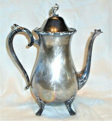 Ant Vintage Rogers Bros Reflection Silver Plated Tea Coffee Pot Pitcher Footed