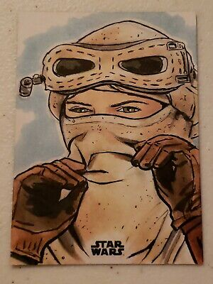 2018 Topps Star Wars Finest Sketch Card REY By Ryan Finley Incredible. 1/1