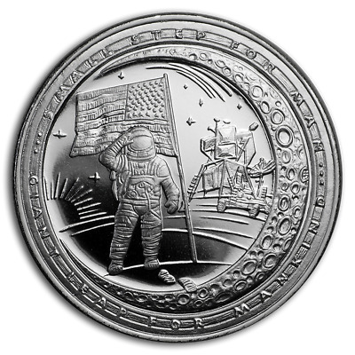 Moon Landing 50th Anniversary Giant Leap BU 1 oz Silver Round Coin in Capsule