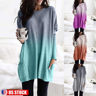 US Women Long Sleeve Gradient T-Shirt Tops Pocket Casual Loose Blouse Tunic Tops