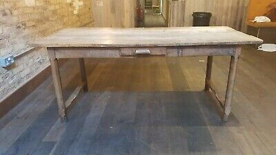 Antique farmhouse Victorian pinewood table