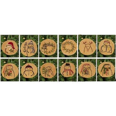 New Primitive Tea Stained 12 PENNY STITCHED SNOWMAN Christmas Tree Ornaments